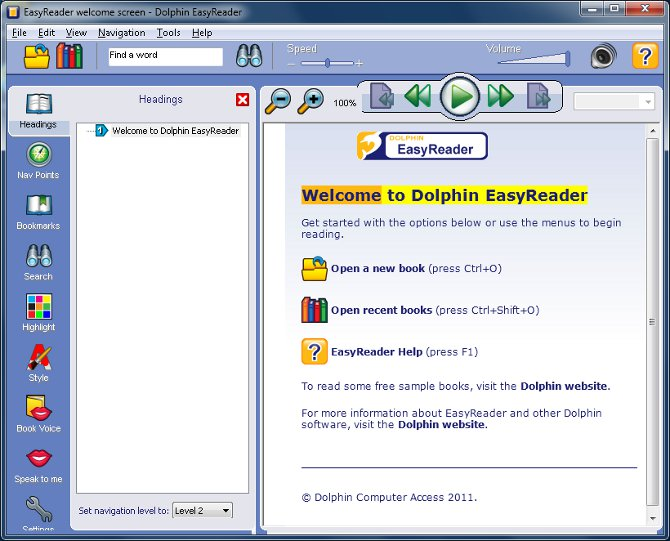 Screenshot of the EasyReader application window