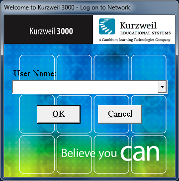 Screenshot of Kurzweil network logon window