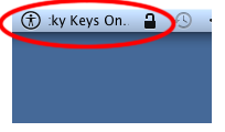 Screenshot of Sticky Keys On marquee in menu bar