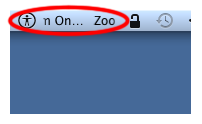 Screenshot showing the Zoom marquee in the  menu bar