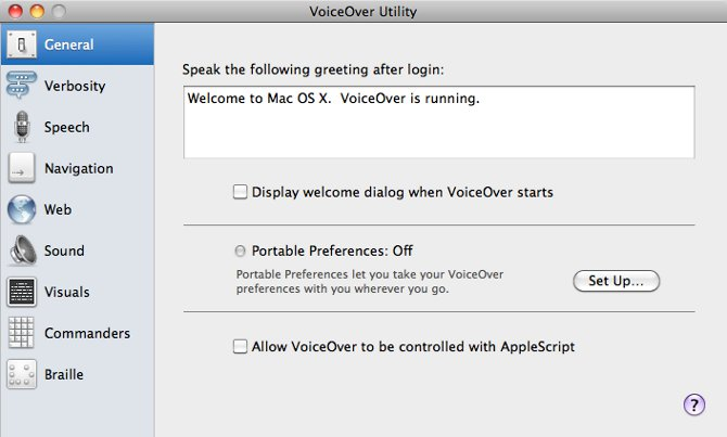 Screenshot showing VoiceOver options