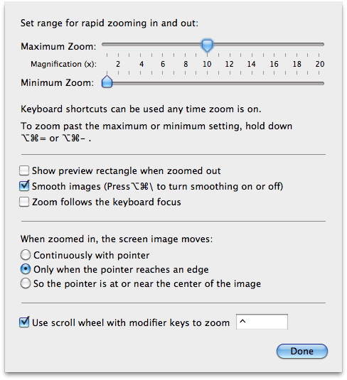 Screenshot showing the Zoom options panel