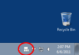 Screenshot showing the Sticky Keys icon in the taskbar