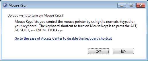 Screenshot of of the Turn on Mouse Keys dialog box