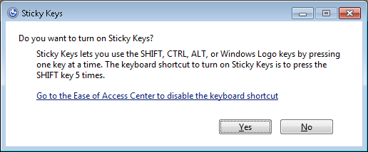 Screenshot of the Turn on Sticky Keys dialog box