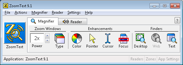 Screenshot of the ZoomText application window